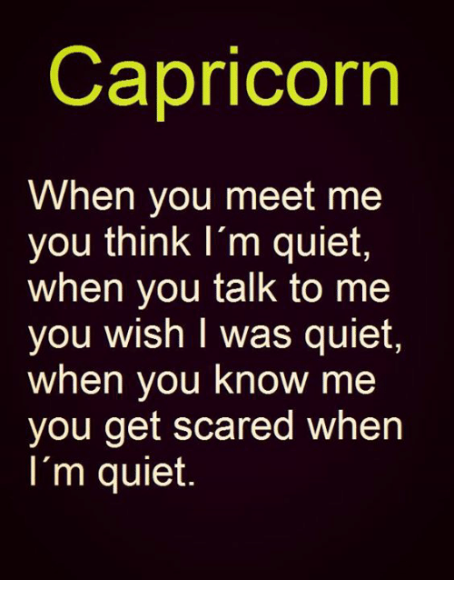 Capricorn, Quiet, and Get Scared: Capricorn  When you meet me  you think I'm quiet  when you talk to me  you wish I was quiet  when you know me  you get scared when  I'm quiet.