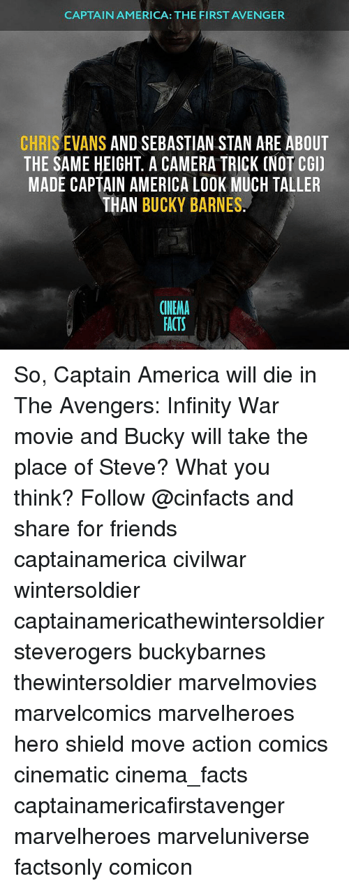 Infiniti: CAPTAIN AMERICA: THE FIRST AVENGER  CHRIS EVANS AND SEBASTIAN STAN ARE ABOUT  THE SAME HEIGHT A CAMERA TRICK CNOT CGI)  MADE CAPTAIN AMERICA LOOK MUCH TALLER  THAN BUCKY BARNES  CINEMA  FACTS So, Captain America will die in The Avengers: Infinity War movie and Bucky will take the place of Steve? What you think? Follow @cinfacts and share for friends captainamerica civilwar wintersoldier captainamericathewintersoldier steverogers buckybarnes thewintersoldier marvelmovies marvelcomics marvelheroes hero shield move action comics cinematic cinema_facts captainamericafirstavenger marvelheroes marveluniverse factsonly comicon