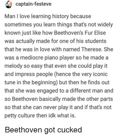 elise: captain-festeve  Man I love learning history because  sometimes you learn things that's not widely  known just like how Beethoven's Fur Elise  was actually made for one of his students  that he was in love with named Therese. She  was a mediocre piano player so he made a  melody so easy that even she could play it  and impress people (hence the very iconic  tune in the beginning) but then he finds out  that she was engaged to a different man and  so Beethoven basically made the other parts  so that she can never play it and if that's not  petty culture then idk what is Beethoven got cucked