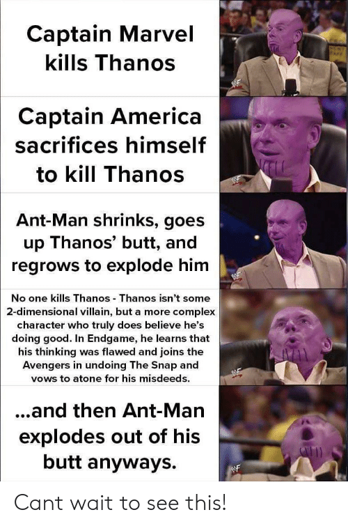 ant man: Captain Marvel  kills Thanos  Captain America  sacrifices himself  to kill Thanos  Ant-Man shrinks, goes  up Thanos' butt, and  regrows to explode him  No one kills Thanos Thanos isn't some  2-dimensional villain, but a more complex  character who truly does believe he's  doing good. In Endgame, he learns that  his thinking was flawed and joins the  Avengers in undoing The Snap and  vows to atone for his misdeeds.  ...and then Ant-Man  explodes out of his  butt anyways. Cant wait to see this!