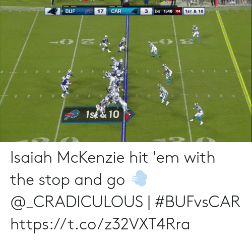 isaiah: CAR  17  3  BUF  2ND 1:46 08  1ST & 10  N  1st& 10 Isaiah McKenzie hit 'em with the stop and go 💨  @_CRADICULOUS | #BUFvsCAR https://t.co/z32VXT4Rra