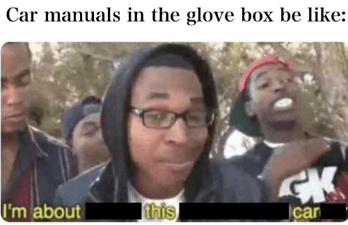 Glove: Car manuals in the glove box be like:  I'm about  this  car