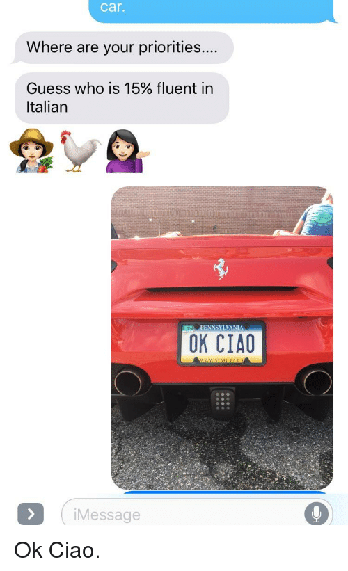 Guess, Pennsylvania, and Guess Who: car.  Where are your priorities  Guess who is 15% fluent in  Italian  5-17, PENNSYLVANIA  OK CIAO  iMessage