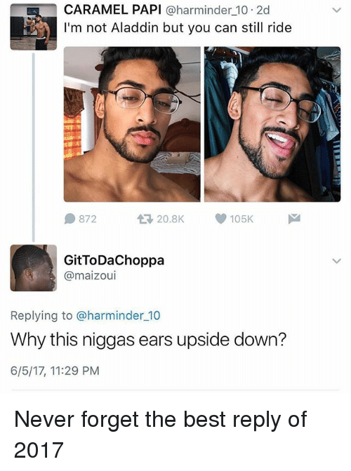 Aladdin, Memes, and 2017: CARAMEL PAPI @harminder 10 2d  I'm not Aladdin but you can still ride  872  t3 20.8K  105K  GitToDaChoppa  @maizoui  Replying to @harminder 10  Why this niggas ears upside down?  6/5/17, 11:29 PM Never forget the best reply of 2017