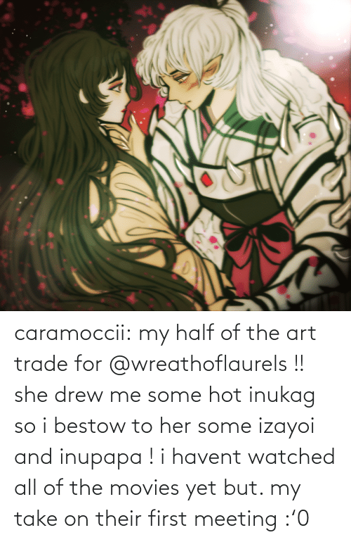 Movies, Target, and Tumblr: caramoccii:  my half of the art trade for @wreathoflaurels !! she drew me some hot inukag so i bestow to her some izayoi and inupapa !i havent watched all of the movies yet but. my take on their first meeting :'0