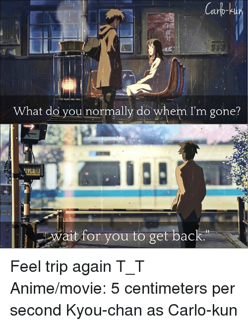 Animated Movies: Carb  What do you normally do when I'm gone?  wait for you to get back. Feel trip again T_T   Anime/movie: 5 centimeters per second   Kyou-chan as Carlo-kun