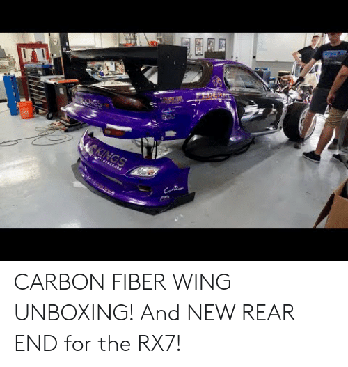 rx7: CARBON FIBER WING UNBOXING! And NEW REAR END for the RX7!