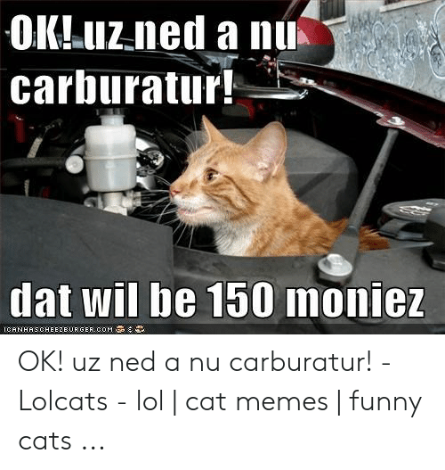 Car Repair Meme: carburatur  dat wil be 150 monie OK! uz ned a nu carburatur! - Lolcats - lol | cat memes | funny cats ...