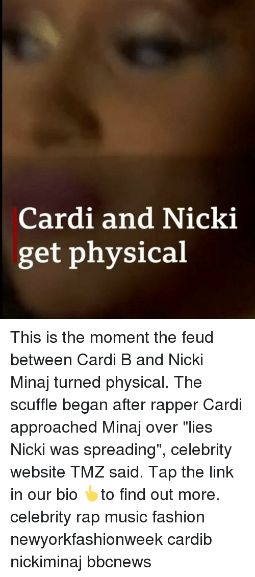 """Rap Music: Cardi and Nicki  get physical This is the moment the feud between Cardi B and Nicki Minaj turned physical. The scuffle began after rapper Cardi approached Minaj over """"lies Nicki was spreading"""", celebrity website TMZ said. Tap the link in our bio 👆to find out more. celebrity rap music fashion newyorkfashionweek cardib nickiminaj bbcnews"""