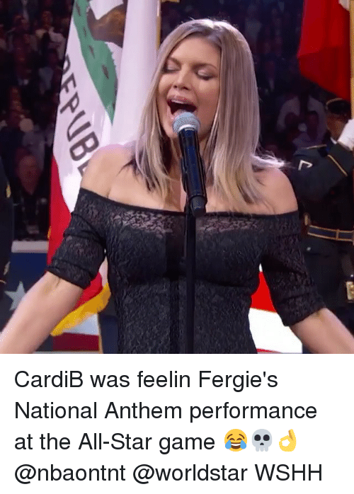 All Star, Memes, and Worldstar: CardiB was feelin Fergie's National Anthem performance at the All-Star game 😂💀👌 @nbaontnt @worldstar WSHH