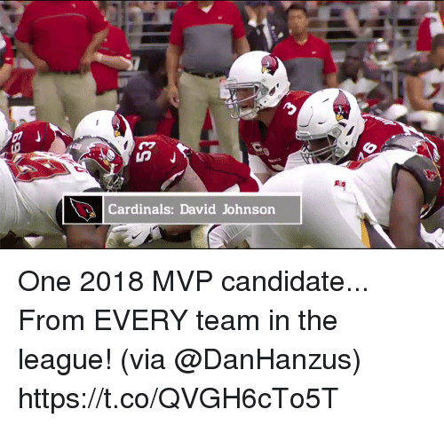 Memes, Cardinals, and The League: Cardinals: David Johnson One 2018 MVP candidate...   From EVERY team in the league! (via @DanHanzus) https://t.co/QVGH6cTo5T