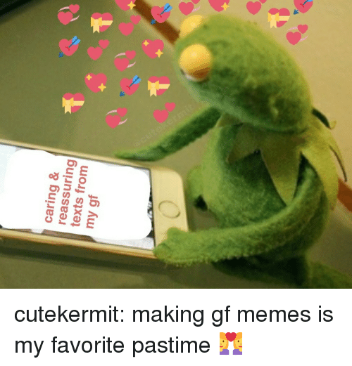 reassuring: caring &  reassuring  texts from  my gf cutekermit:  making gf memes is my favorite pastime 👩‍❤️‍👩