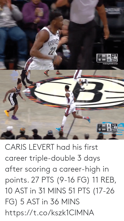 triple double: CARIS LEVERT had his first career triple-double 3 days after scoring a career-high in points.   27 PTS (9-16 FG) 11 REB, 10 AST in 31 MINS 51 PTS (17-26 FG) 5 AST in 36 MINS  https://t.co/kszk1CIMNA