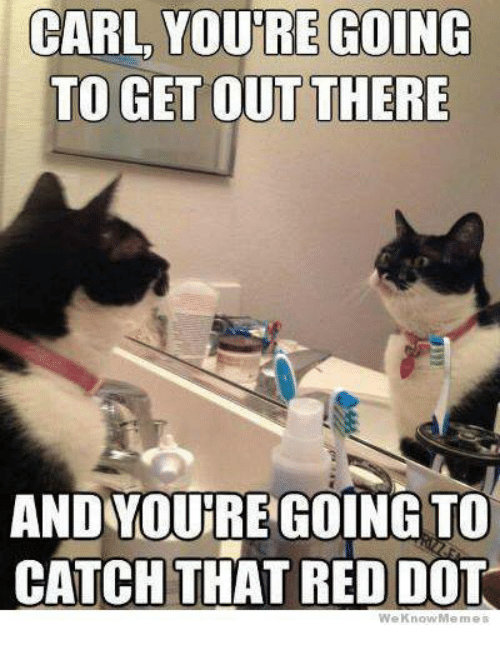We Know Meme: CARL YOURRE GOING  TO GET OUT THERE  ANDYDURE GOING TO  CATCH THAT RED DOT  We Know Meme