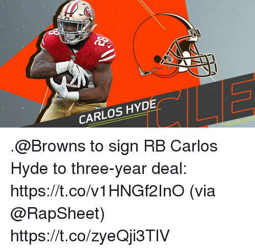 Memes, Browns, and 🤖: CARLOS HYDE .@Browns to sign RB Carlos Hyde to three-year deal: https://t.co/v1HNGf2InO (via @RapSheet) https://t.co/zyeQji3TlV