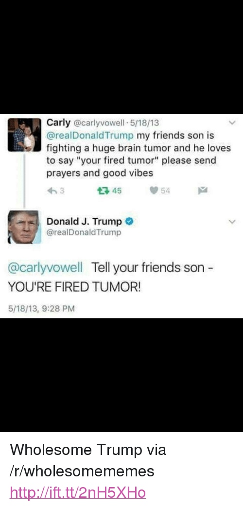 """Your Fired: Carly @carlyvowell 5/18/13  @realDonaldTrump my friends son is  fighting a huge brain tumor and he loves  to say """"your fired tumor"""" please send  prayers and good vibes  わ3  다45  54  Donald J. Trump o  @realDonaldTrump  @carlyvowell Tell your friends son -  YOU'RE FIRED TUMOR!  5/18/13, 9:28 PM <p>Wholesome Trump via /r/wholesomememes <a href=""""http://ift.tt/2nH5XHo"""">http://ift.tt/2nH5XHo</a></p>"""