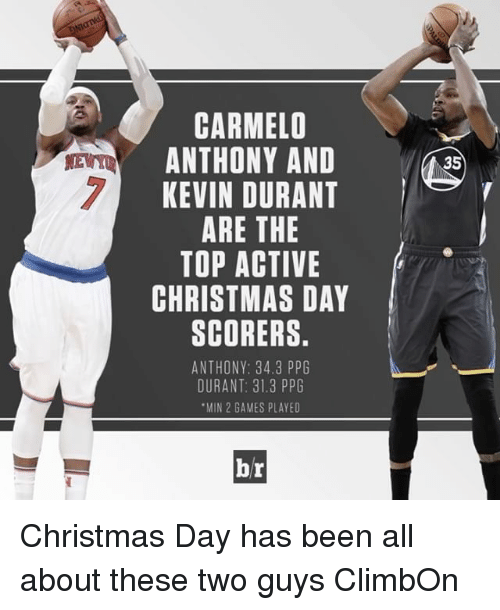 Carmelo Anthony, Kevin Durant, and Sports: CARMELO  ANTHONY AND N35  KEVIN DURANT  ARE THE  TOP ACTIVE  CHRISTMAS DAY  SCORERS.  ANTHONY: 34.3 PPG  DURANT: 31.3 PPG  MIN 2 GAMES PLAYED  br Christmas Day has been all about these two guys ClimbOn