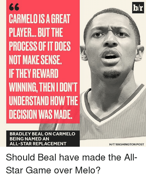 bradley beal: CARMELOISAGREAT  PLAYER...BUTTHE  PROCESSOR ITDOES  NOT MAKE SENSE.  IF THEY REWARD  WINNING THENIDON'T  UNDERSTANDHOW THE  DECISION WAS MADE.  BRADLEY BEAL ON CARMELO  BEING NAMED AN  ALL-STAR REPLACEMENT  br  HIT WASHINGTON POST Should Beal have made the All-Star Game over Melo?