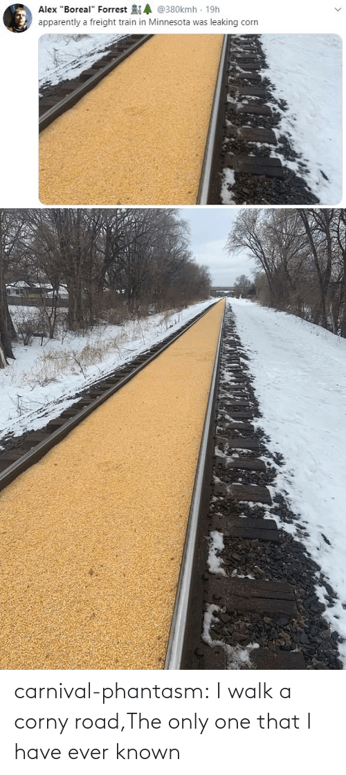 Corny: carnival-phantasm:  I walk a corny road,The only one that I have ever known