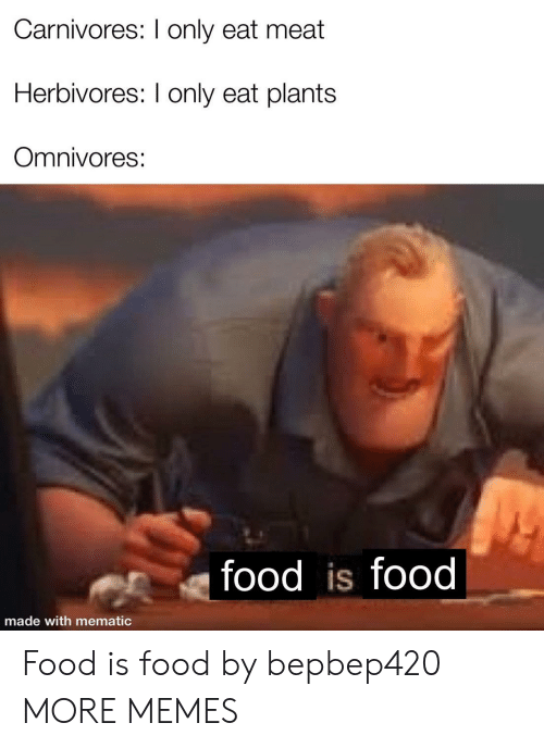 plants: Carnivores: I only eat meat  Herbivores: I only eat plants  Omnivores:  food is food  made with mematic Food is food by bepbep420 MORE MEMES