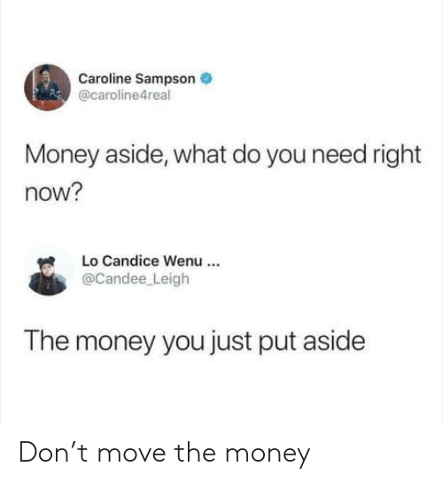 caroline: Caroline Sampson  @caroline4real  Money aside, what do you need right  now?  Lo Candice Wenu  @Candee Leigh  The money you just put aside Don't move the money