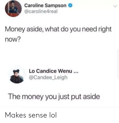 caroline: Caroline Sampson  @caroline4real  Money aside, what do you need right  now?  Lo Candice Wenu  @Candee Leigh  The money you just put aside Makes sense lol