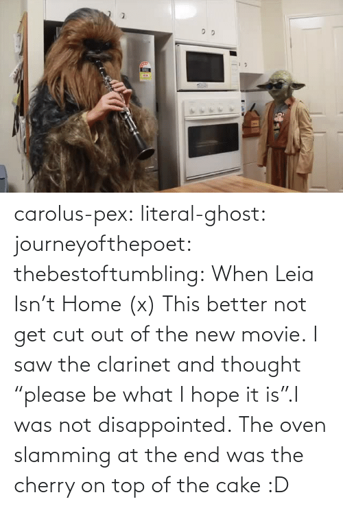 "Cherry On Top: carolus-pex:  literal-ghost:  journeyofthepoet:  thebestoftumbling:    When Leia Isn't Home (x)  This better not get cut out of the new movie.  I saw the clarinet and thought ""please be what I hope it is"".I was not disappointed.   The oven slamming at the end was the cherry on top of the cake :D"