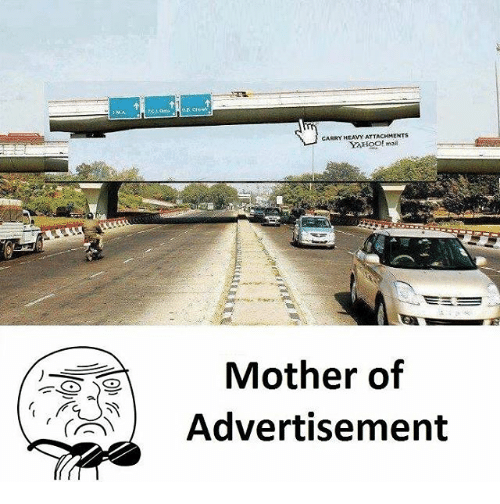 Memes, Yahoo, and 🤖: CARRY AHOool  CARRY HEAVY ATTACHMENTS  YAHOO! mai  Mother of  Advertisement  (