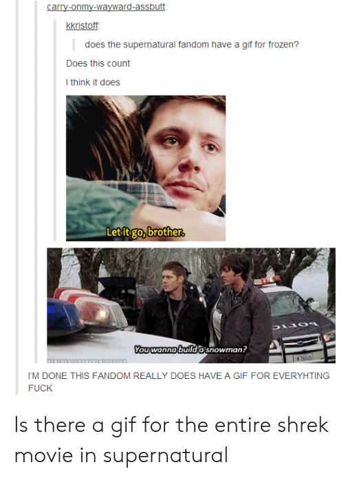 Supernatural Fandom: carry-onmy-wayward-assbutt  kkristoff  does the supernatural fandom have a gif for frozen?  Does this count  I think it does  Let it go, brother.  You wanna builda snowman?  NHESTERANENTNCHESTER.  I'M DONE THIS FANDOM REALLY DOES HAVE A GIF FOR EVERYHTING  FUCK Is there a gif for the entire shrek movie in supernatural