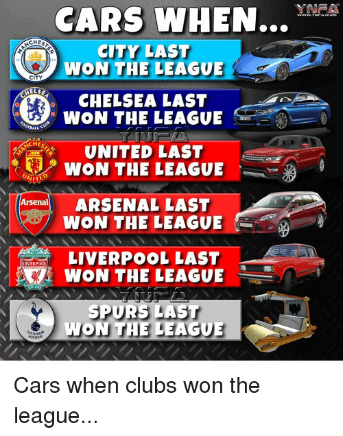 Arsenal, Cars, and Chelsea: CARS WHEN...YN-  INEA  WWW.YNPAMOD  CITY LAST  WON THE LEAGUE  CITY  HELS  CHELSEA LAST  WON THE LEAGUE  BALL  CHES  UNITED LAST  WON THE LEAGUE  VITED  Arsenal  Ang ARSENAL LAST  WON THE LEAGUE  LIVERPOOL LAST  WON THE LEAGUE  SPURS LAST  WON THE LEAGUE Cars when clubs won the league...
