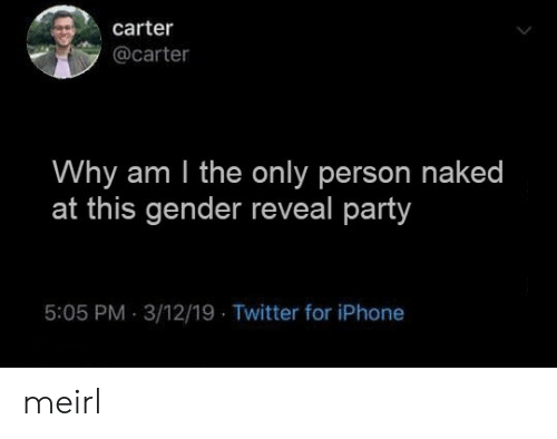 Reveal: carter  @carter  Why am I the only person naked  at this gender reveal party  5:05 PM 3/12/19 Twitter for iPhone meirl