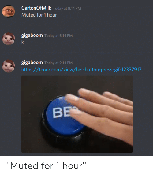 """Button Press: CartonOfMilk Today at 8:14 PM  Muted for 1 hour  gigaboom Today at 8:14 PM  k  gigaboom Today at 9:14 PM  https://tenor.com/view/bet-button-press-gif-12337917  BE """"Muted for 1 hour"""""""