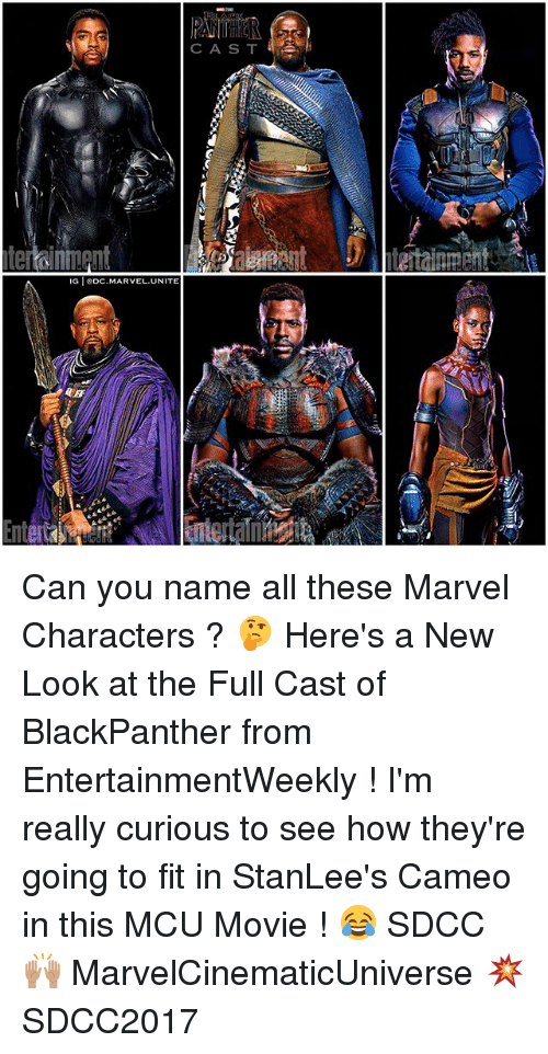 marvel characters: CAS T  by  G DC.MARVEL.UNITE Can you name all these Marvel Characters ? 🤔 Here's a New Look at the Full Cast of BlackPanther from EntertainmentWeekly ! I'm really curious to see how they're going to fit in StanLee's Cameo in this MCU Movie ! 😂 SDCC 🙌🏽 MarvelCinematicUniverse 💥 SDCC2017