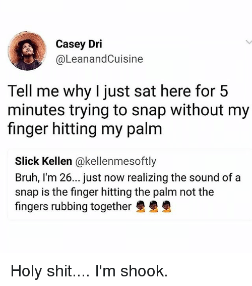 Bruh, Memes, and Shit: Casey Dri  @LeanandCuisine  Tell me why I just sat here for 5  minutes trying to snap without my  finger hitting my palm  Slick Kellen @kellenmesoftly  Bruh, I'm 26... just now realizing the sound of a  snap is the finger hitting the palm not the  fingers rubbing together Holy shit.... I'm shook.
