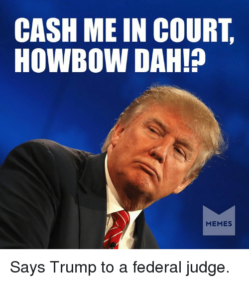 Howbow Dah: CASH ME IN COURT  HOWBOW DAH!  MEMES Says Trump to a federal judge.