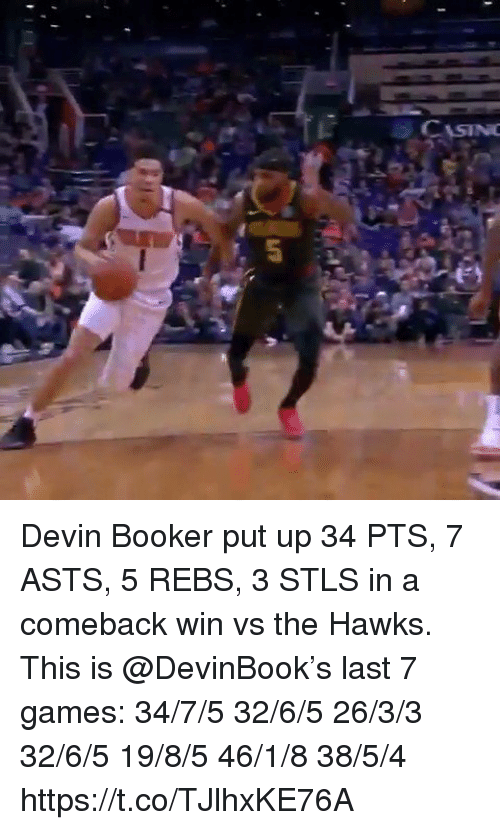 Memes, Games, and Hawks: CASIN Devin Booker put up 34 PTS, 7 ASTS, 5 REBS, 3 STLS in a comeback win vs the Hawks.   This is @DevinBook's last 7 games: 34/7/5 32/6/5 26/3/3 32/6/5 19/8/5 46/1/8 38/5/4 https://t.co/TJlhxKE76A