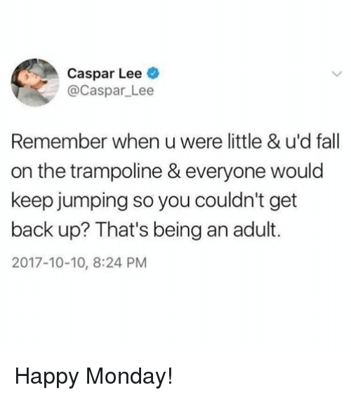 Being an Adult, Dank, and Fall: Caspar Lee  @Caspar_Lee  Remember when u were little & u'd fall  on the trampoline & everyone would  keep jumping so you couldn't get  back up? That's being an adult.  2017-10-10, 8:24 PM Happy Monday!