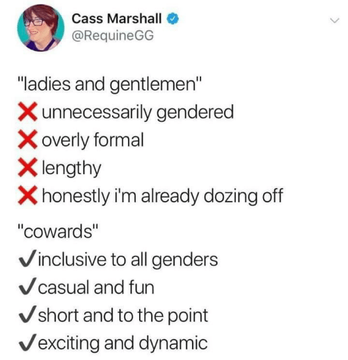 """overly: Cass Marshall  @RequineGG  """"ladies and gentlemen""""  Xunnecessarily gendered  overly formal  Xlengthy  Xhonestly i'm already dozing off  """"cowards""""  Vinclusive to all genders  Vcasual and fun  Vshort and to the point  Vexciting and dynamic"""