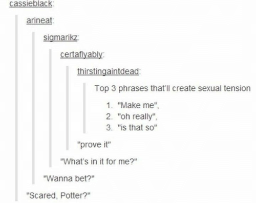 "Humans of Tumblr, Potter, and Bet: cassieblack  arineat  sigmarikz  certafiyably  thirstingaintdead  Top 3 phrases that'll create sexual tension  1. ""Make me""  2. ""oh really""  3. ""is that so""  ""prove it""  ""What's in it for me?""  Wanna bet?""  ""Scared, Potter?"""