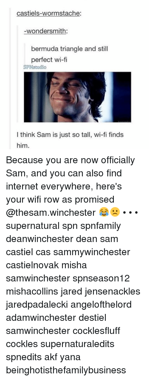 stache: castiels-worm stache  wondersmith:  bermuda triangle and still  perfect wi-fi  SPNstado  think Sam is just so tall, wi-fi finds  him. Because you are now officially Sam, and you can also find internet everywhere, here's your wifi row as promised @thesam.winchester 😂☹️ • • • supernatural spn spnfamily deanwinchester dean sam castiel cas sammywinchester castielnovak misha samwinchester spnseason12 mishacollins jared jensenackles jaredpadalecki angelofthelord adamwinchester destiel samwinchester cocklesfluff cockles supernaturaledits spnedits akf yana beinghotisthefamilybusiness