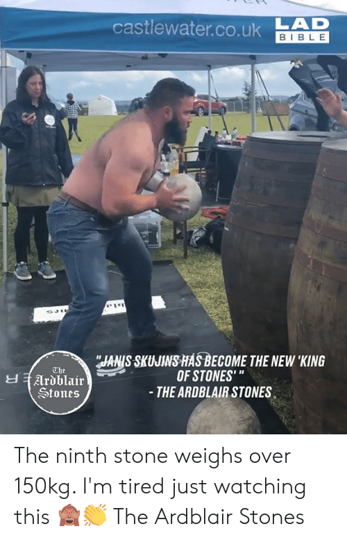 """King Of: castlewater.co.ukAD  BIBLE  JANIS SKUJINS HASBECOME THE NEW 'KING  OF STONES'""""  - THE ARDBLAIR STONES  The  Ardblair  Stones The ninth stone weighs over 150kg. I'm tired just watching this 🙈👏  The Ardblair Stones"""