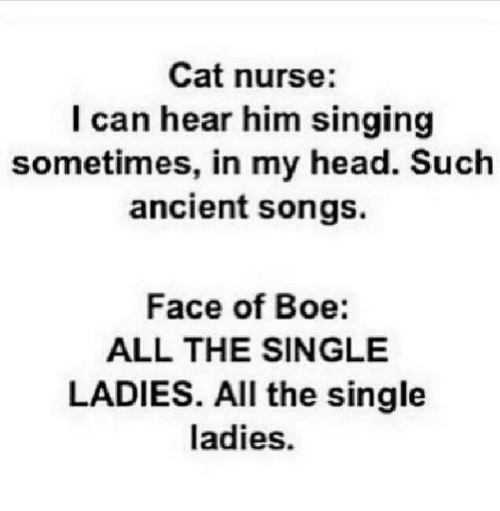 Single Lady: Cat nurse:  I can hear him singing  sometimes, in my head. Such  ancient songs.  Face of Boe:  ALL THE SINGLE  LADIES. All the single  ladies.