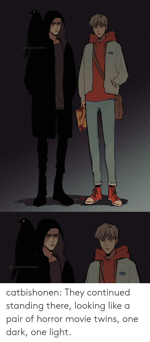 Twins: @catbishonen   @catbishonen catbishonen:  They continued standing there, looking like a pair of horror movie twins, one dark, one light.