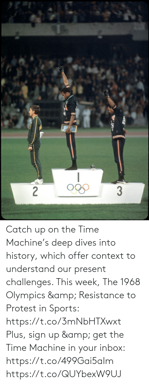 sports: Catch up on the Time Machine's deep dives into history, which offer context to understand our present challenges. This week, The 1968 Olympics & Resistance to Protest in Sports: https://t.co/3mNbHTXwxt   Plus, sign up & get the Time Machine in your inbox: https://t.co/499Gai5aIm https://t.co/QUYbexW9UJ