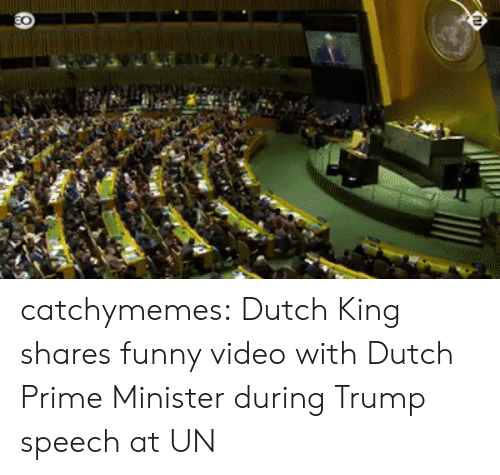 Dutch Language: catchymemes: Dutch King shares funny video with Dutch Prime Minister during Trump speech at UN