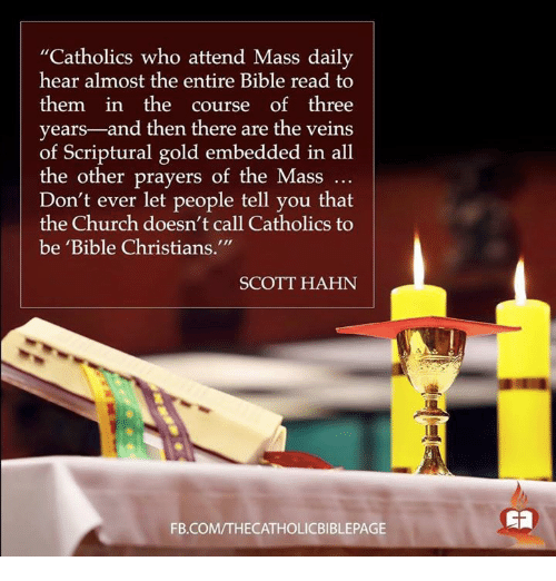 """Memes, Catholic, and 🤖: """"Catholics who attend Mass daily  hear almost the entire Bible read to  them in the  course of three  years  and then there are the veins  of Scriptural gold embedded in all  the other prayers of the Mass  Don't ever let people tell you that  the Church doesn't call Catholics to  be 'Bible Christians.""""  SCOTT HAHN  FB.COMTTHECATHOLICBIBLEPAGE"""