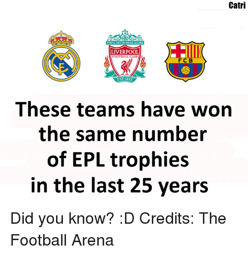 Memes, 25 Years, and 🤖: Catri  YOUILLNEVERWALKALONE  LIVERPOOL  FOOTBALL CLUB  F C B  EST 1892  These teams have won  the same number  of EPL trophies  in the last 25 years Did you know? :D  Credits: The Football Arena