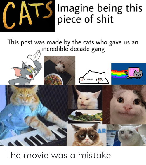 A Mistake: CATS  SImagine being this  piece of shit  This post was made by the cats who gave us an  incredible decade gang  AR The movie was a mistake