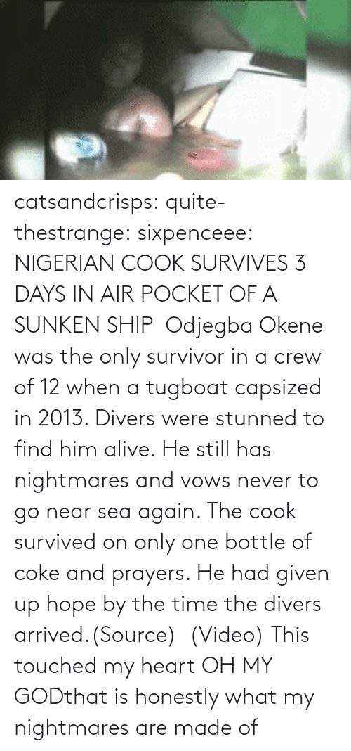 air pocket: catsandcrisps:  quite-thestrange:  sixpenceee:  NIGERIAN COOK SURVIVES 3 DAYS IN AIR POCKET OF A SUNKEN SHIP Odjegba Okene was the only survivor in a crew of 12 when a tugboat capsized in 2013. Divers were stunned to find him alive. He still has nightmares and vows never to go near sea again. The cook survived on only one bottle of coke and prayers. He had given up hope by the time the divers arrived.(Source)(Video)  This touched my heart  OH MY GODthat is honestly what my nightmares are made of
