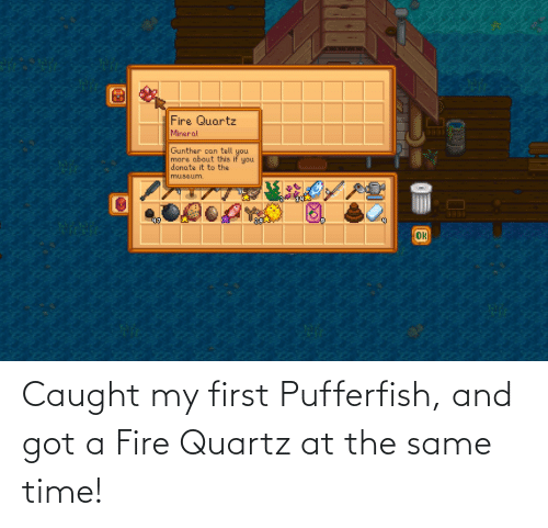 at the same time: Caught my first Pufferfish, and got a Fire Quartz at the same time!